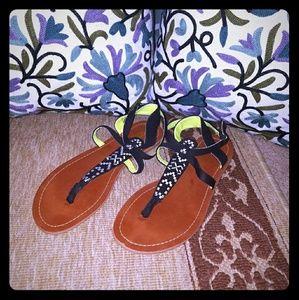 Tribal Print Stitched T Strap Sandals Size 10
